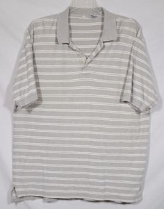 CHEROKEE Mens Gray White Striped Polo Shirt XL Short Sleeves 100% Cotton #Cherokee #PoloRugby