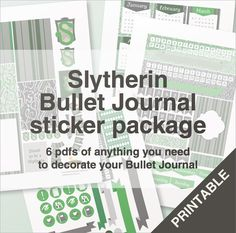 Slytherin bullet journal stickers package  A4  by BumbleBeasy