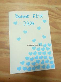    DIY/Activité : Une carte et des coeurs pour la fête des pères Avril, Happy Day, Diy, Glue Sticks, Happy Name Day, Father's Day, Fish, Bricolage, Do It Yourself