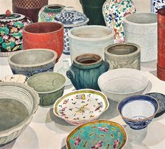 Cressida Campbell (Australian, born 1960) Title: Still life with Ceramics , 2007 Medium: woodblock print Size: 71.5 x 78.5 cm. (28.1 x 30.9 in.)