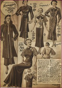 Chicago mail order co. 1930s Fashion, Vintage Fashion, Fashion Top, Vintage Style Dresses, Vintage Outfits, Vintage Clothing, Late Modern Period, Theatre Costumes, Novelty Print