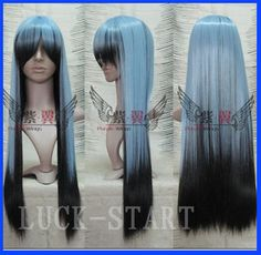 Hot! New Fashion Black/Blue Mix Long Straight Cosplay Wig/Wigs