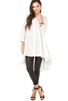 White Long Sleeve Lapel High Low Blouse