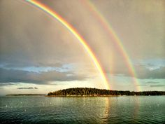 Double rainbow Stonington Harbor August 2013