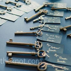 To help carry out their old-world style, the couple tagged cards to vintage skeleton keys, which guests took home as favors.