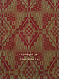 """CRANBERRY / TAN WOVEN PRAIRIE STAR TABLE RUNNER 33"""" x 15"""" Cotton/Acry Primitive #UNKNOWN"""