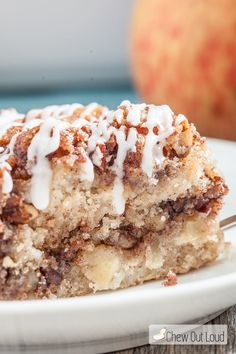 This Apple Streusel Coffee Cake only uses one bowl. You get to dump all the cake ingredients together, without the fuss of wet/dry ingredients separately! The streusel topping (separate) is absolutely scrumptious...definitely don't skip it!