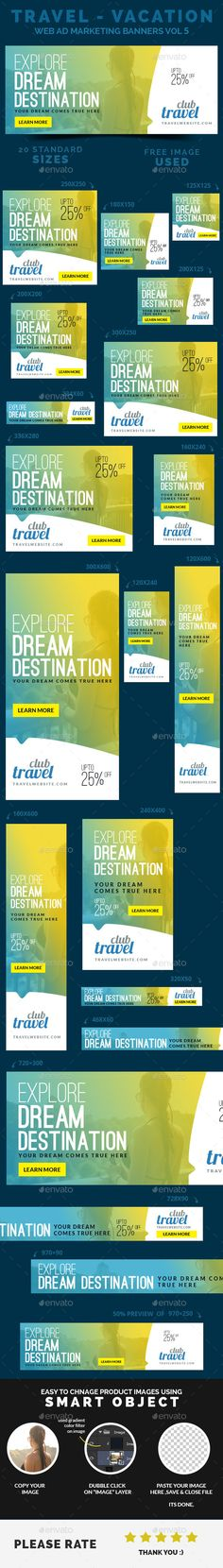 Travel - Vacation Web Ad Marketing Banners Vol 5 - Banners & Ads Web Elements Web Banner Design, Web Banners, Ad Design, Layout Design, Flyer Design, Banner Instagram, Cv Web, Ad Layout, Display Ads