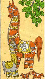 Pattachitra: Royal Horses (Bottle Painting Indian)