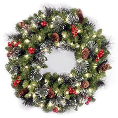 "Buy National Tree Pre-Lit 24"" Crestwood Spruce Wreath with 50 Clear Lights at Walmart.com"