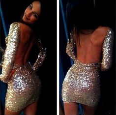 Free shipping 2014 NEW ARRIVALSFashion sexy backless sequined long sleeve bodycon dress. Party Dress  TB 5942 $22,32