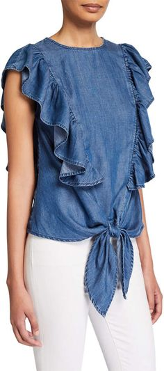 Shop Chambray Knotted Flutter-Sleeve Blouse from FRAME at Neiman Marcus Last Call, where you'll save as much as on designer fashions. Sleeves Designs For Dresses, Frame Denim, Flutter Sleeve, Super Skinny, Cotton Linen, Chambray, Cap Sleeves, Ruffle Blouse, Fashion Design