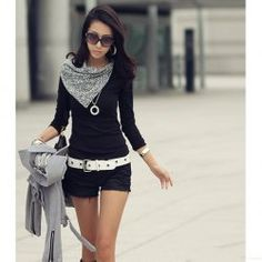Fashionable and Special Fichu Collar Design Long Sleeve