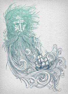 "Seabeard  by David Fleck  ART PRINT / MEDIUM (GALLERY) (17"" X 22"")  $32.00"