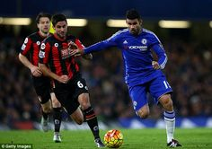 Diego Costa (right) came off the bench at half-time but couldn't help Chelsea avoid a late defeat