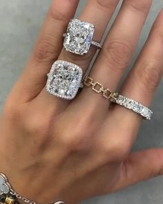 """""""It's like buying Cartier, but better. Michelle actually cares, our ring is beautiful, I got 1.5 carats larger than I planned and she helped me plan the proposal too. Every guy needs this service."""" - William G., Bal Harbour, Florida. Acquire a Rodeo Drive ring you are proud of, enjoy a streamlined process from a Harry Winston, Tiffany & Co., and Van Cleef & Arpels trained expert. Schedule your Diamond Discovery Call today. #engagamentrings #radiantcut #5carats #10carats #15 carats #20carats. Harry Winston Wedding Rings, Big Wedding Rings, Wedding Jewelry, Luxury Engagement Rings, Cushion Cut Engagement Ring, Vintage Engagement Rings, Tiffany Engagement, Chanel 19, Hand Jewelry"""