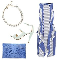 J Crew Venus Flytrap Crystal necklace, Tibi Printed Silk dress, Zara sandal with ankle straps, JJ winters Blake Lively Croco Envelope Clutch in Brite Blue Wedding Guest Men, Summer Wedding, What To Wear To A Wedding, How To Wear, Wedding Survival Kits, Tibi Dresses, Dressed To The Nines, Glamour, Wedding Attire
