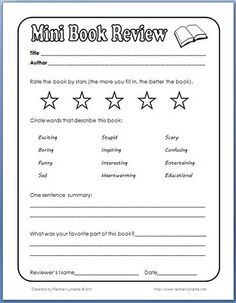 Reading: Great for when you don't want to do a full-fledged book report. Also a terrific way for students to recommend books to one another. Reading Workshop, Reading Skills, Teaching Reading, Guided Reading, Free Reading, Book Review Template, Book Report Templates, Essay Template, Library Activities
