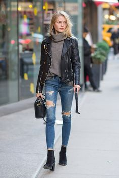 Leather jacket and distressed jeans street style
