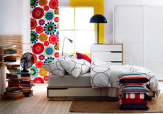 Tired of monochrome bedrooms? Check out this bright and colorful Scandinavian bedroom design. Monochrome Bedroom, Modern Bedroom Design, Bedroom Designs, Luxury Homes Interior, Home Interior Design, Interior Ideas, Modern Interior, Ikea Bedroom Furniture, Living Room Decor