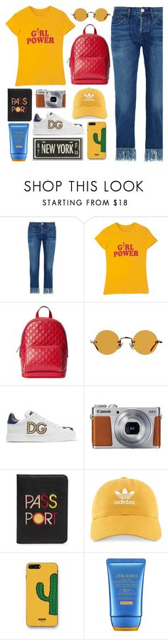 """Girl's Adventure"" by pure-vnom ❤ liked on Polyvore featuring 3x1, Gucci, Hakusan, Dolce&Gabbana, Lizzie Fortunato, adidas, WithChic, Shiseido and PBteen"
