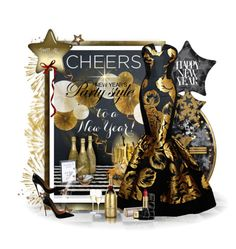 """Happy New Year Cheers"" by kmlvr9 ❤ liked on Polyvore featuring moda, MoÃ«t & Chandon, Christian Louboutin y Guerlain"