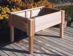 Rectangular Raised 18 In D Cedar Garden Planter W Wooden Legs