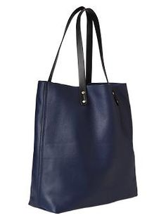 Navy leather tote.