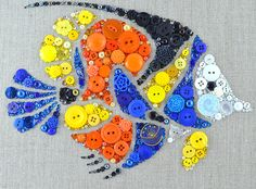 Tropical Fish Button Art 9x12 Wall Hanging by PaintedWithButtons