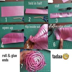 Another tutorial on making another type of paper flower center. Another tutorial on making another type of paper flower center. Large Paper Flowers, Tissue Paper Flowers, Giant Paper Flowers, Paper Roses, Diy Flowers, Fabric Flowers, Paper Flower Backdrop Wedding, Paper Flower Art, Flowers Decoration
