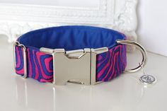 Fabric Dog Collar With Pink And Blue Design by TwistedPetDesigns, $23.00