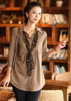 Fashionista Korean Modern Lady Plus Size Top    Color: Blue/Khaki   Size: XL/XXL/XXXL