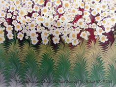 Daisy Garden - Original Marbled Graphics™ by Robert Wu, Hand Marbled Paper, Marbling Ebru Art
