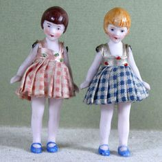 Fabulous 3 Pair Hertwig Dollhouse FLAPPER Dolls ~ All Original!