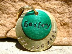 The Bailey Unique Irish Green Gold Handstamped Pet ID by MODPawed