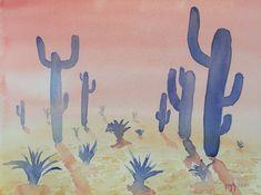 Voici ce que je viens d'ajouter dans ma boutique #artoozen.etsy.com sur  #etsy : aquarelle originale faite main de #cactus d'#arizona coucher de soleil Bienvenue sur #artoozen  !