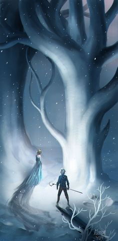 Jack and Elsa in the wintery woods