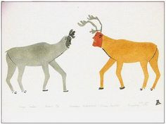 """Magic Caribou by Inuit artist Ananaisee Alikatuktuk, Printmaker:Mosesee Novakeel, Style: Transformation Art, Location: Panniqtuuq (Pangnirtung), Year: 1976, Technique: Stencil, Edition: 19 of 50, Dimensions: H 13.5"""" X W 24"""" UNFRAMED $640 FRAMED $780"""