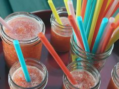 Add some vodka and you've got sum GiGi juice!!!! Strawberry Lemonade Slushes recipe from Nancy Fuller via Food Network