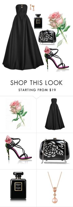 """Black Rose!"" by flippintickledinc ❤ liked on Polyvore featuring Reem Acra, Dolce&Gabbana, Chanel and LE VIAN"