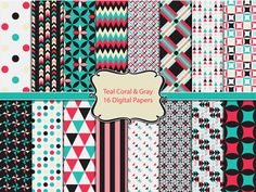 TEAL & CORAL Digital Paper Pack Commercial Use Ok by ClipArtBrat