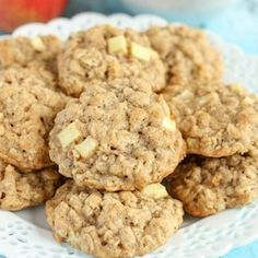 Apple Oatmeal Cookies ~ Easy recipe from pantry ingredients. Makes about 2 dozen thick, soft, chewy cookies. Apple Recipes, Baking Recipes, Cookie Recipes, Dessert Recipes, Apple Desserts, Party Recipes, Fall Desserts, Christmas Desserts, Christmas Baking