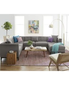 Braylei 3 Pc Tufted Sectional W Chaise Amp 3 Toss Pillows