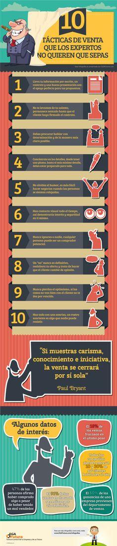 10 tácticas de venta que los expertos no quieres que conozcas #infografia