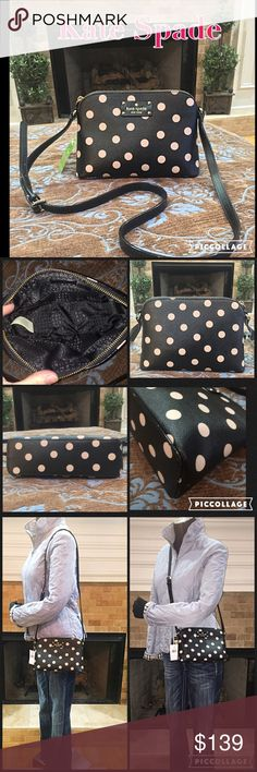 NWT $199 ❤️ Authentic Kate Spade ♠️ Crossbody Bag! This is a beautiful authentic brand new with tags, Kate Spade Cross-body/shoulder bag in Black with Tan polka dots. This would make a perfect Christmas present! 10'L x 6' H Price is firm on this item. Tags attached $199 and currently in stores. Thanks for looking! kate spade Bags Crossbody Bags