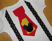 Mickey Mouse Mickey's Pants Tie T Shirt With Black Suspenders Disney Vacation, Birthday Party  Photo Prop Disney Clothing. $21.95, via Etsy.
