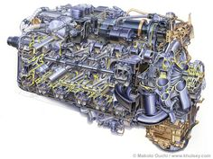 Napier Sabre 24 Cutaway Aero Engine by Makoto Ouchi - 24 cylinders in an H-configuration