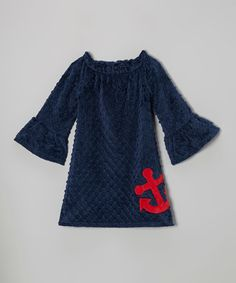 Look at this #zulilyfind! Red Anchor Peasant Dress - Infant, Toddler & Girls by Lolly Gags #zulilyfinds