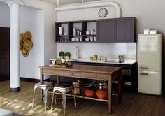 kitchen with dusty cream SMEG fridge (via Oscar Properties -... - my ideal home...