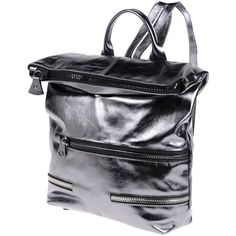 Borsetteria  Napoli 1985 Backpacks & Fanny Packs (4 145 UAH) ❤ liked on Polyvore featuring bags, backpacks, silver, leather knapsack, leather bags, zipper bag, belt pocket bag and leather zipper backpack